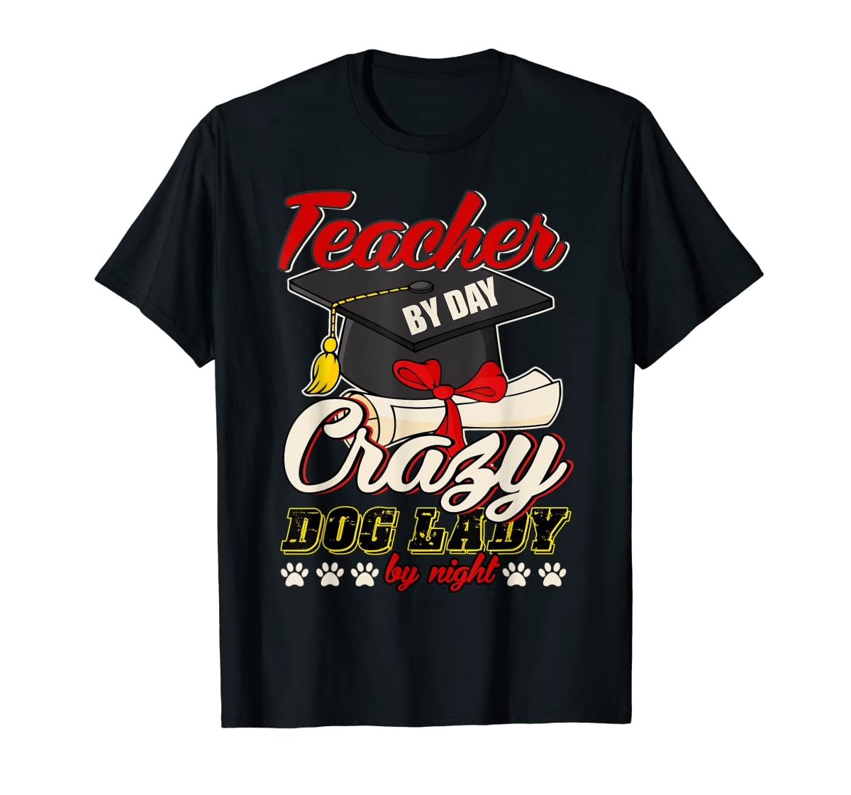 Teacher By Day T Shirt, Crazy Dog Lady By Night T Shirt-Men's T-Shirt-Black