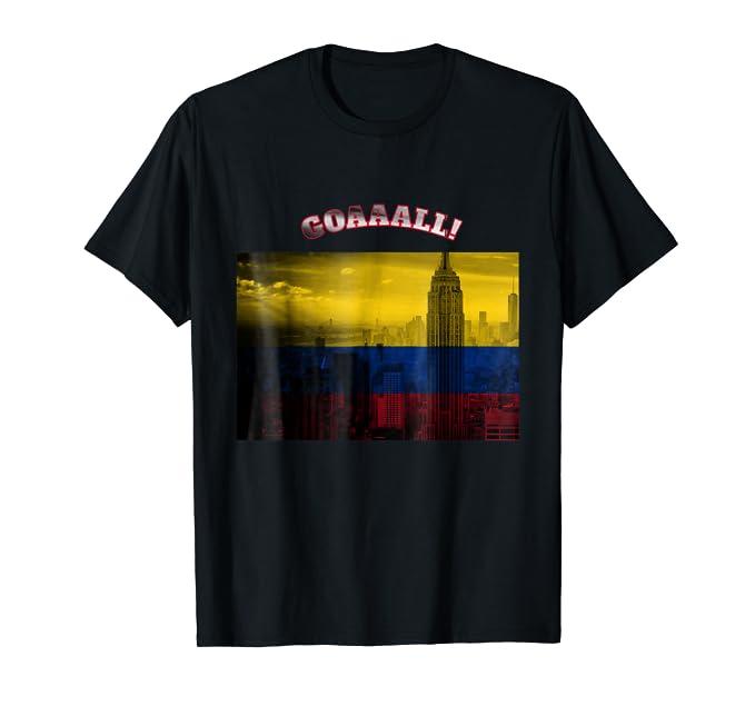 Goal Colombian Flag and NYC Skyline Soccer Team Tee Shirt