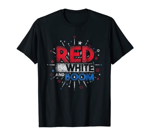 e4946376 Image Unavailable. Image not available for. Color: Red White and Boom  Fireworks T-Shirt