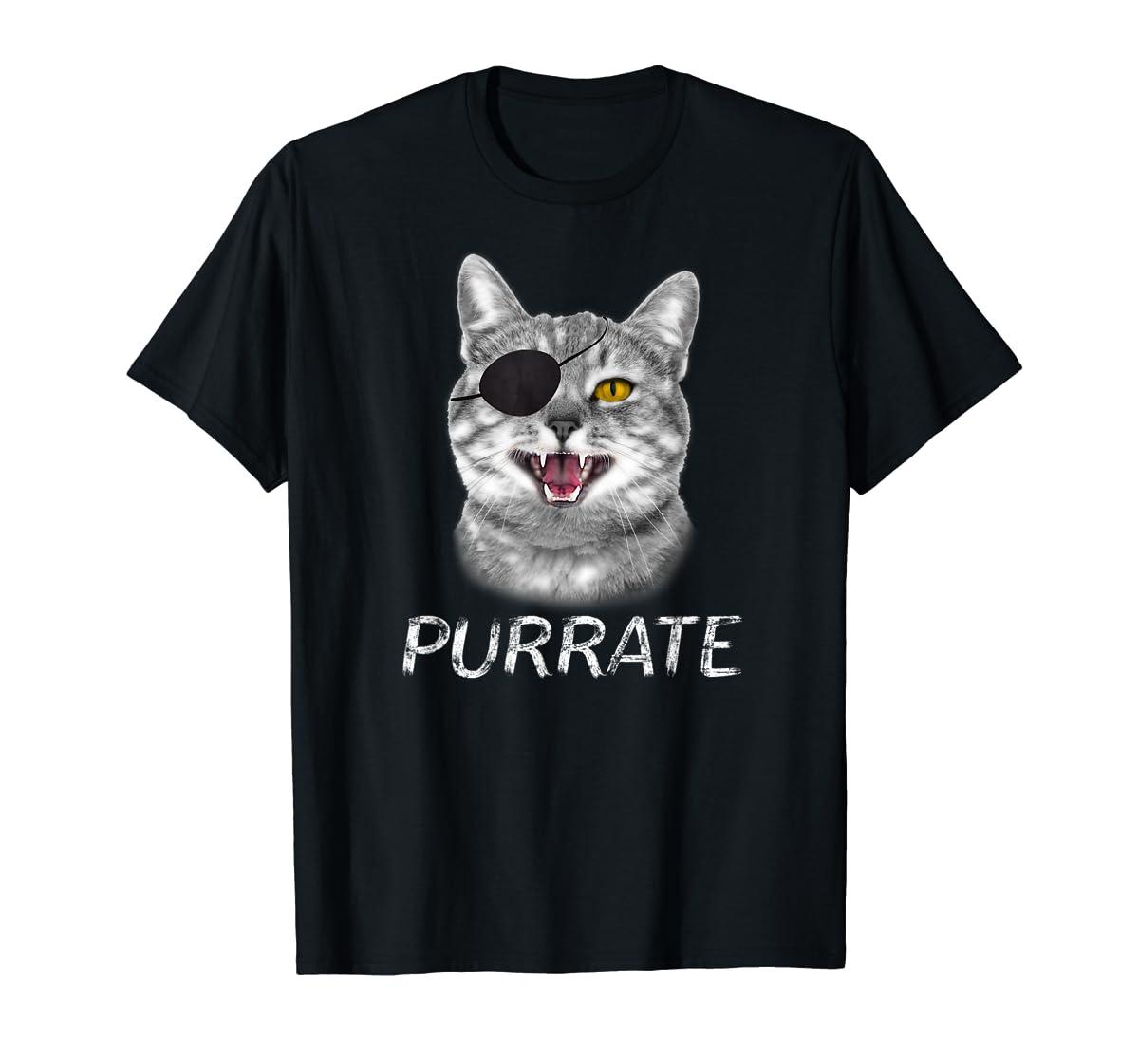 Halloween Trick Treat Cat Pirate Purrate T-Shirt-Men's T-Shirt-Black
