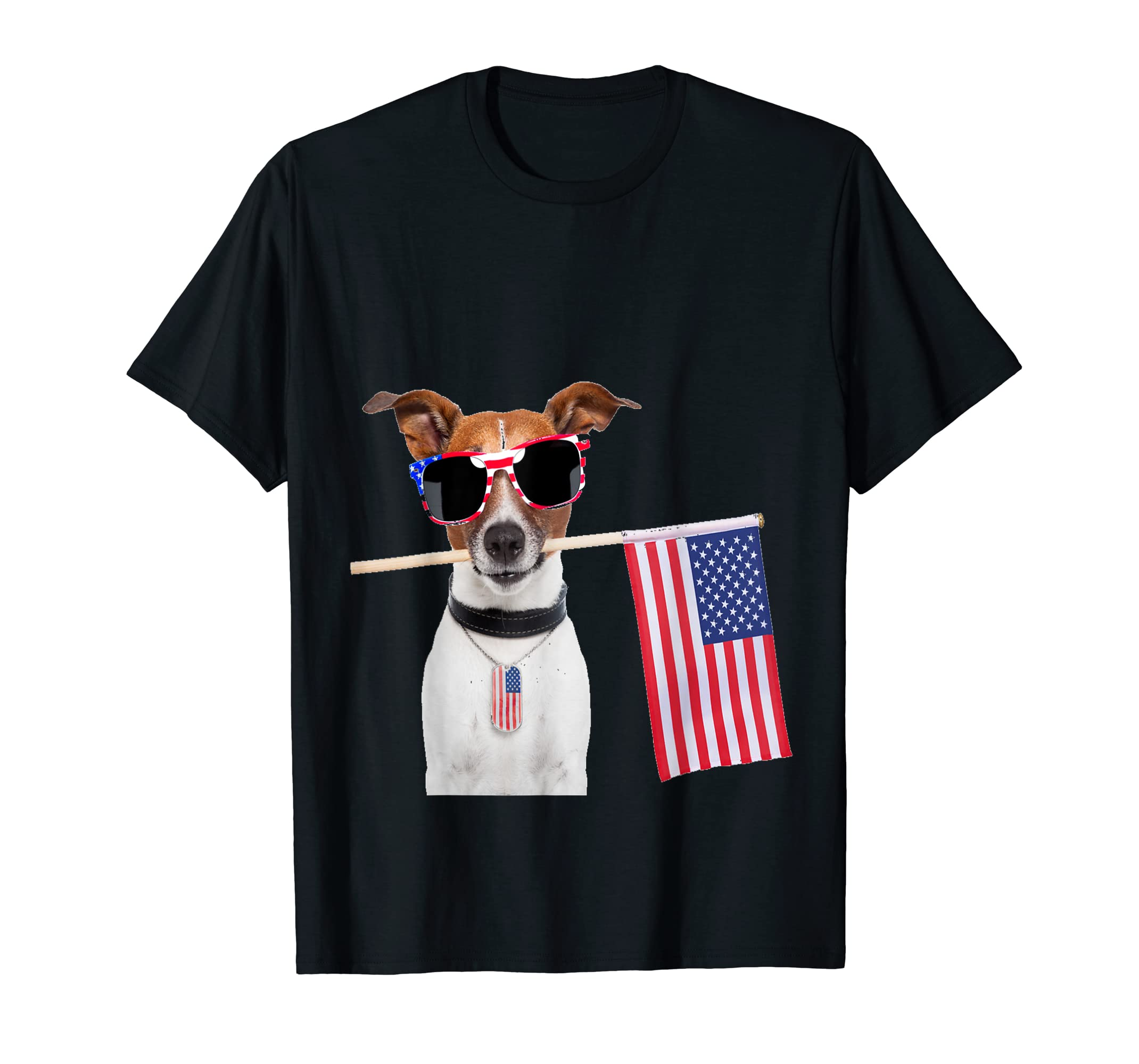 4th of July Shirt American Flag Jack Russel Terrier Dog Tags-Men's T-Shirt-Black
