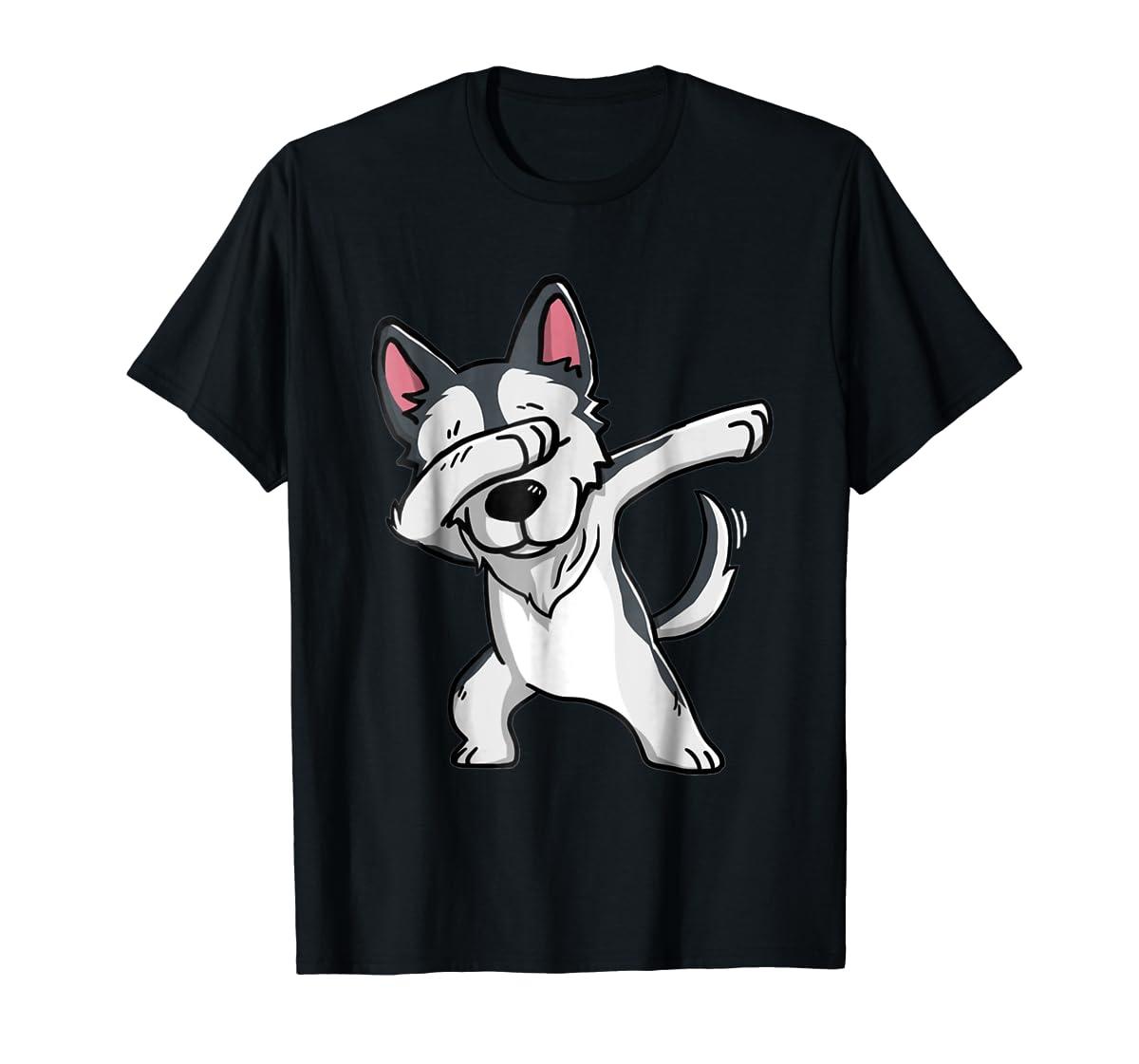Dabbing Siberian Husky T-Shirt Husky Kids Costume-Men's T-Shirt-Black