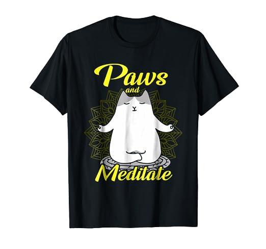 Amazon.com: Paws And Meditate Yoga Tshirts Yoga Gift Ideas ...