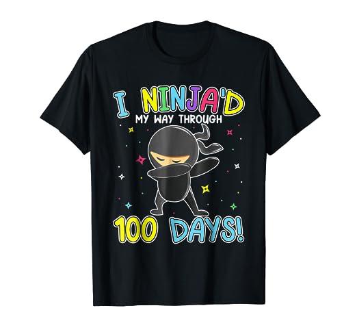 Amazon.com: I Ninja Dabbing My 100 Days School Shirt Kids ...