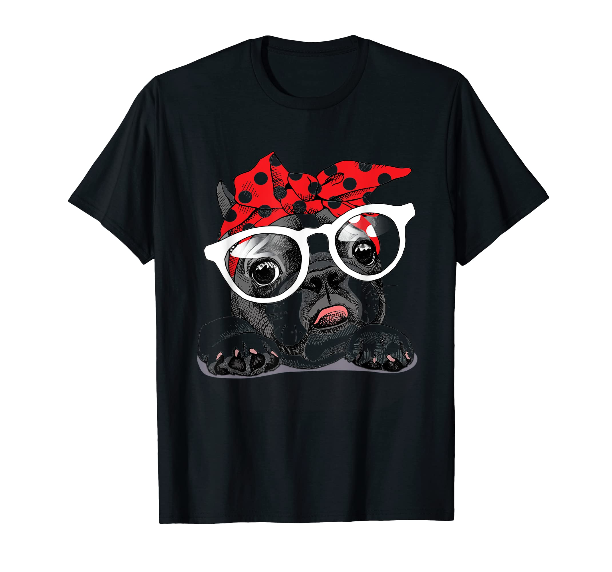 French Bulldog in a headband and with glasses T-Shirt-Men's T-Shirt-Black
