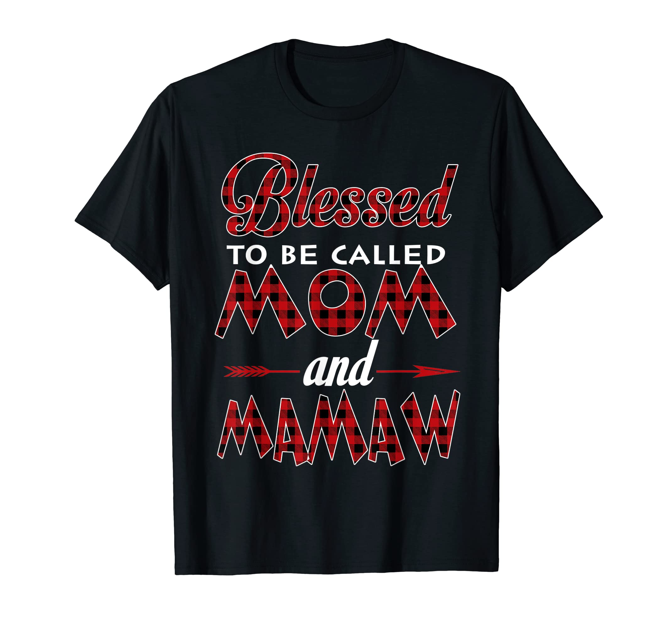 Blessed To Be Called Mom and Mamaw-Buffalo Plaid Christmas T-Shirt-Men's T-Shirt-Black