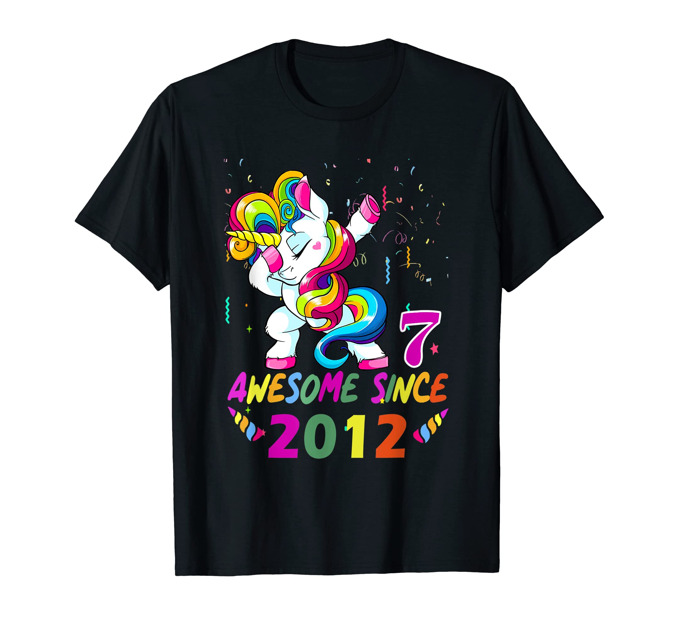 "Girls 7th Birthday Unicorn TShirt ""Awesome Since 2012""-Men's T-Shirt-Black"