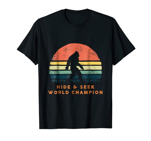 ee784458 Image Unavailable. Image not available for. Color: Hide and Seek World  Champion T-Shirt Retro Bigfoot Vintage