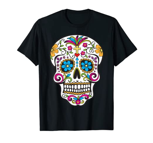 8838a6c327c Image Unavailable. Image not available for. Color  Day of the Dead Sugar  Skull T-Shirt