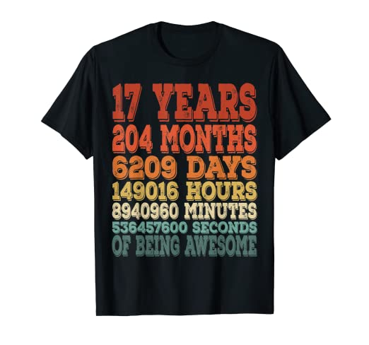 Image Unavailable Not Available For Color 17 Bday Shirt 17th Birthday Gift Ideas Years Old