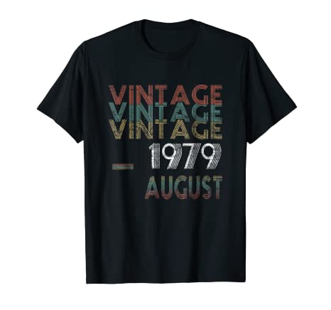 Amazon Vintage August 1979 Birthday Shirt Gift 39 Years Old T