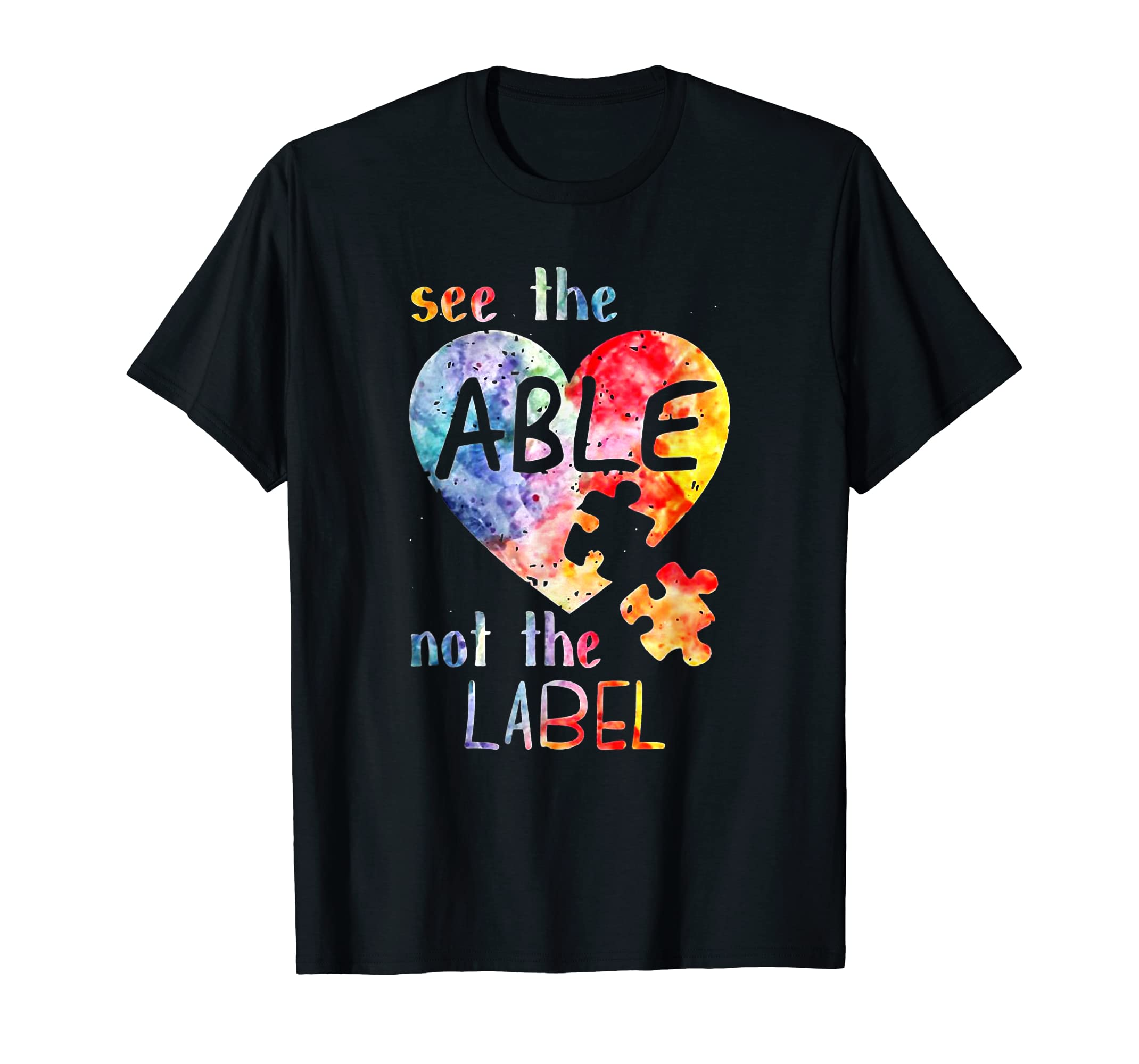 see the able not the label shirt cute autism awareness-Men's T-Shirt-Black