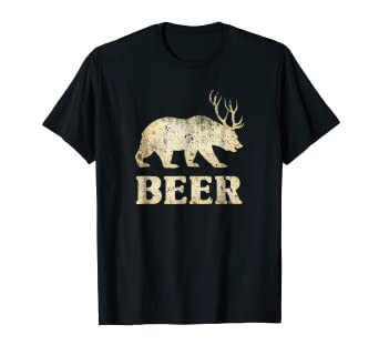 1389bffa9 Image Unavailable. Image not available for. Color: Bear Deer Funny Vintage T -Shirt