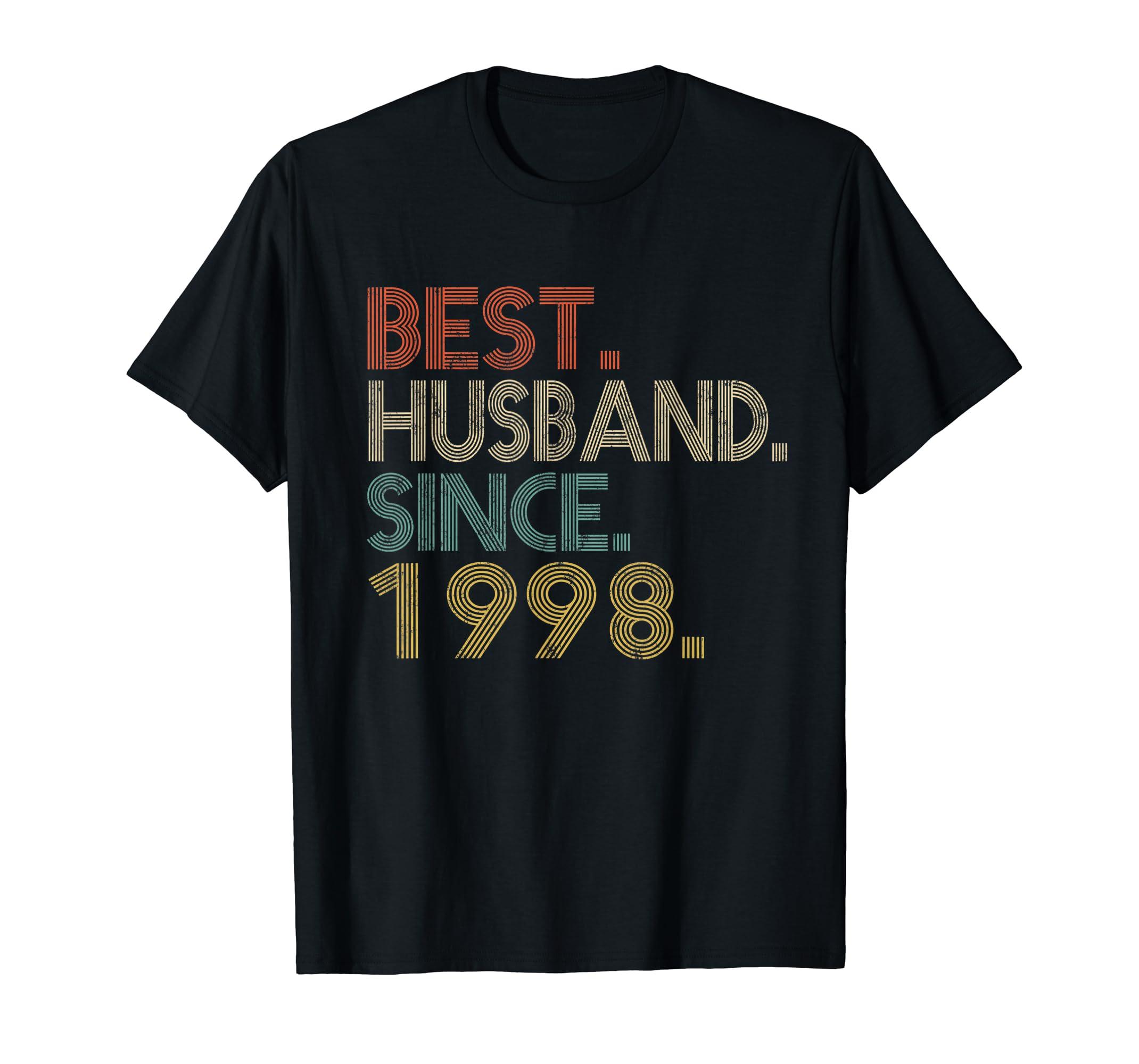 Mens 21st Wedding Anniversary Gifts Best Husband Since 1998-Men's T-Shirt-Black