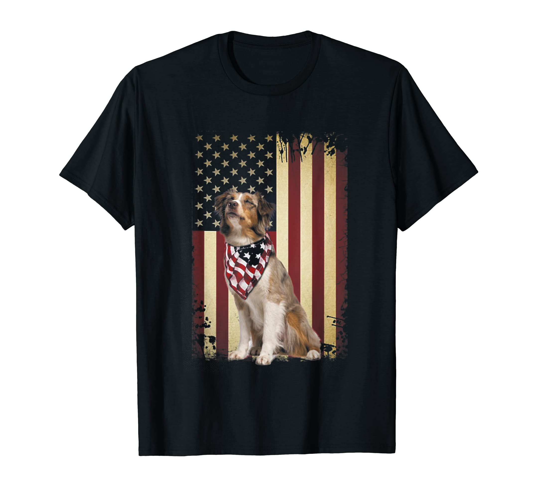 Australian shepherd smile flag American t-shirt Independence-Men's T-Shirt-Black