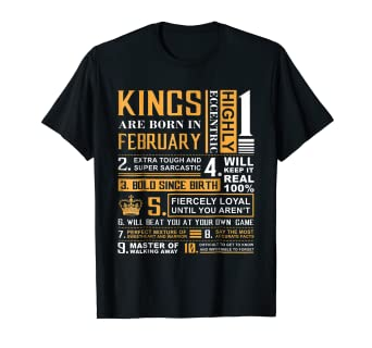 452e95c0 Image Unavailable. Image not available for. Color: Birthday Gifts - Kings  are Born In February T-Shirt