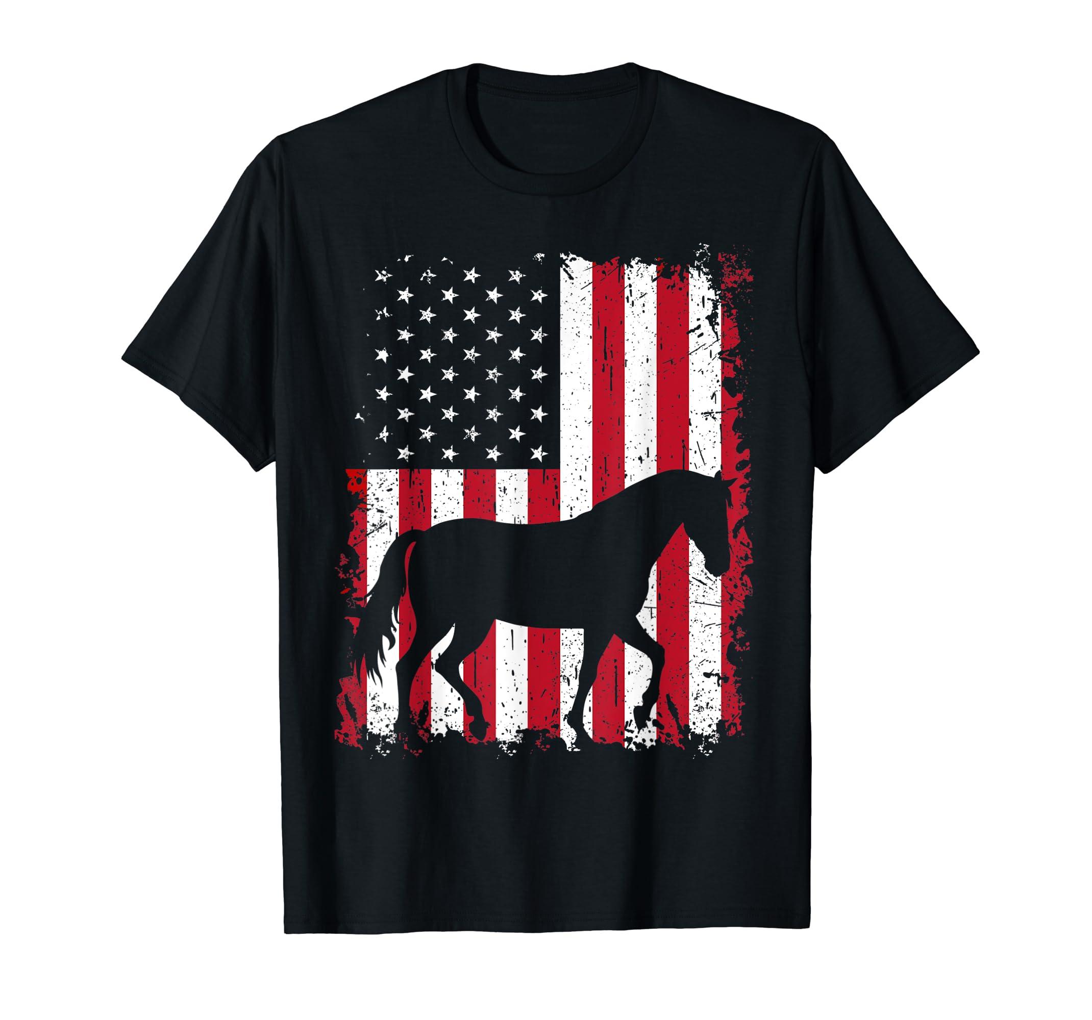 Horse 4th of July Shirt American USA Flag Patriotic Gift Tee-Men's T-Shirt-Black