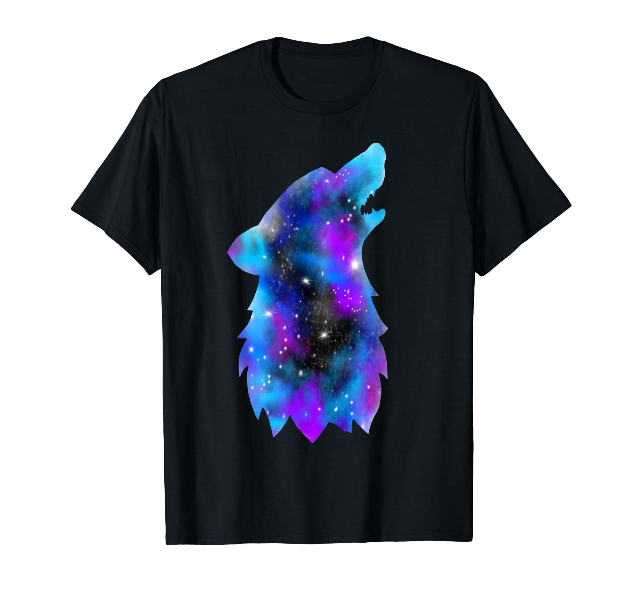 8563366b Amazon.com: GALAXY Wolf Space T-Shirt: Clothing