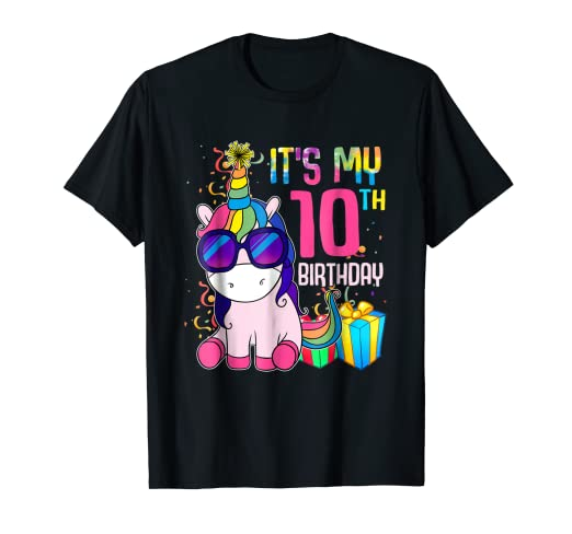 Image Unavailable Not Available For Color 10 Years Old 10th Birthday Unicorn Shirt Girl Daughter Gift