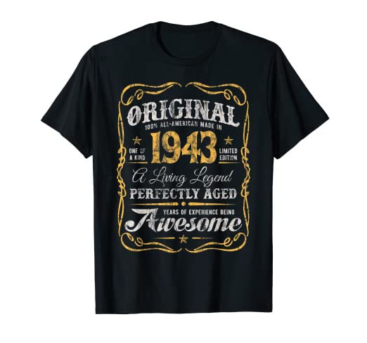 08fce82c Image Unavailable. Image not available for. Color: Vintage Made In 1943 T- Shirt 76th Birthday American Original