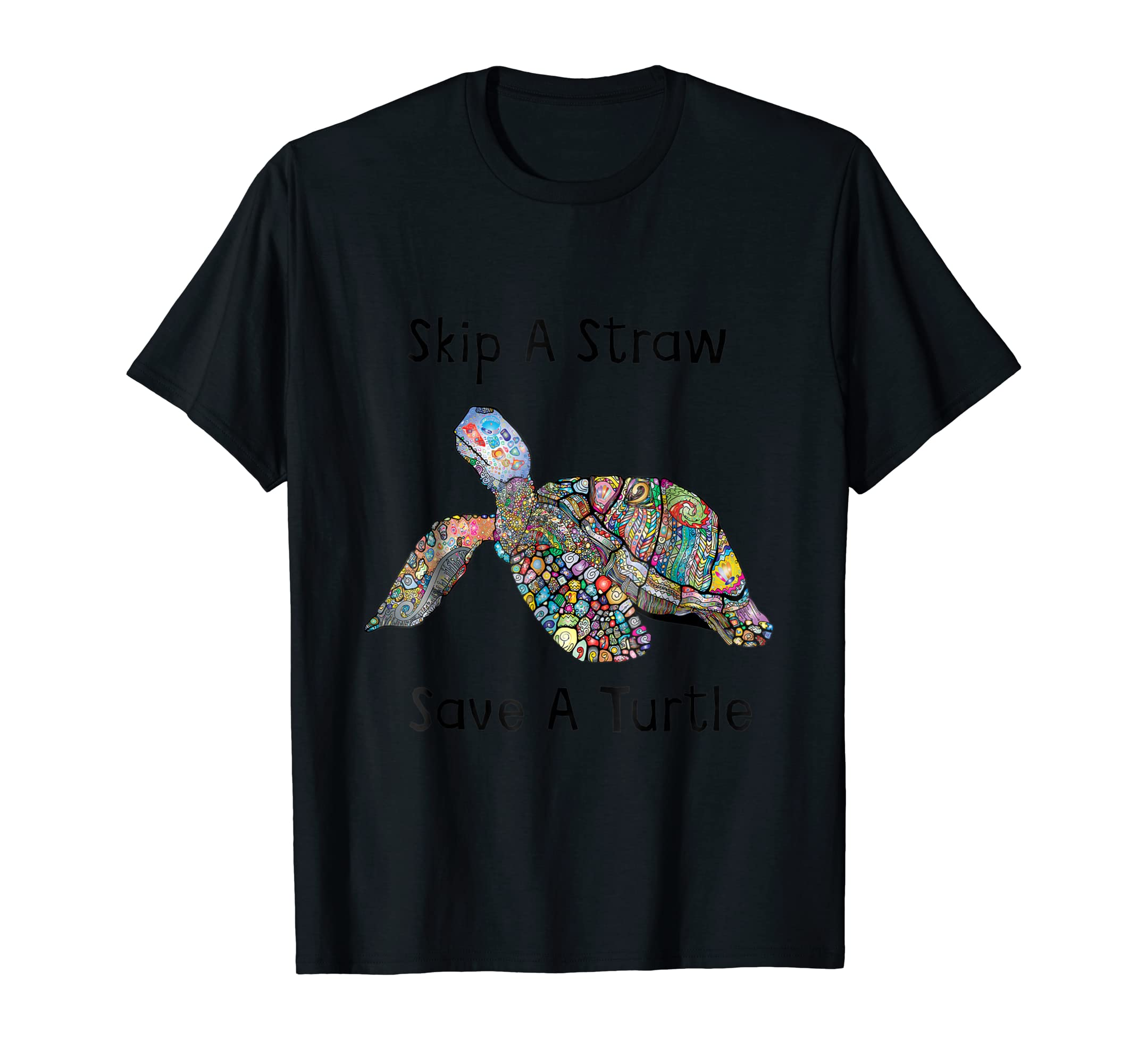 Skip A Straw Save A Turtle T-Shirt Save the Turtles Tee-Men's T-Shirt-Black