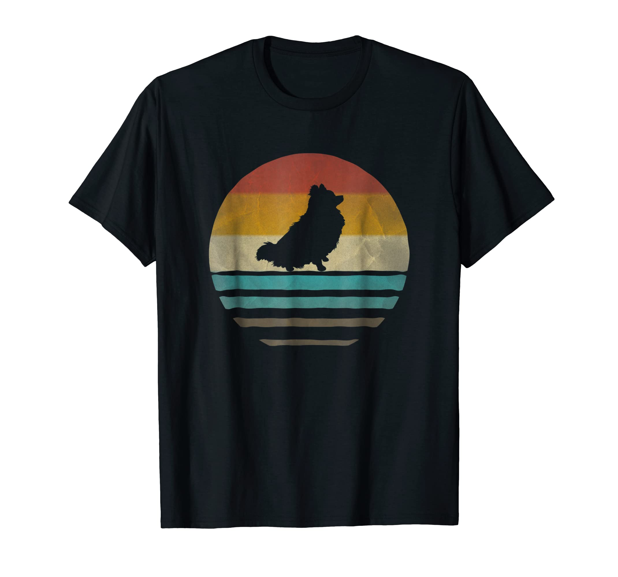 Pomeranian Dog Shirt Retro Vintage 70s Silhouette Distressed-Men's T-Shirt-Black