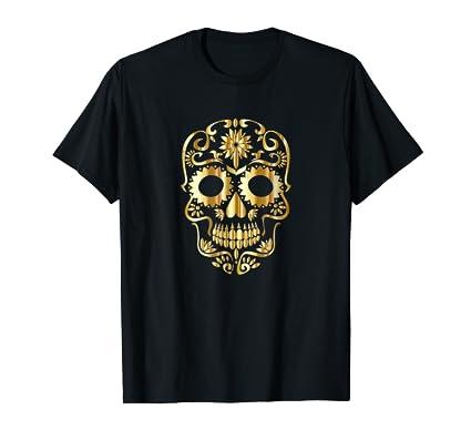 Golden Skull Tee Shirt for Day of the Dead Halloween fans