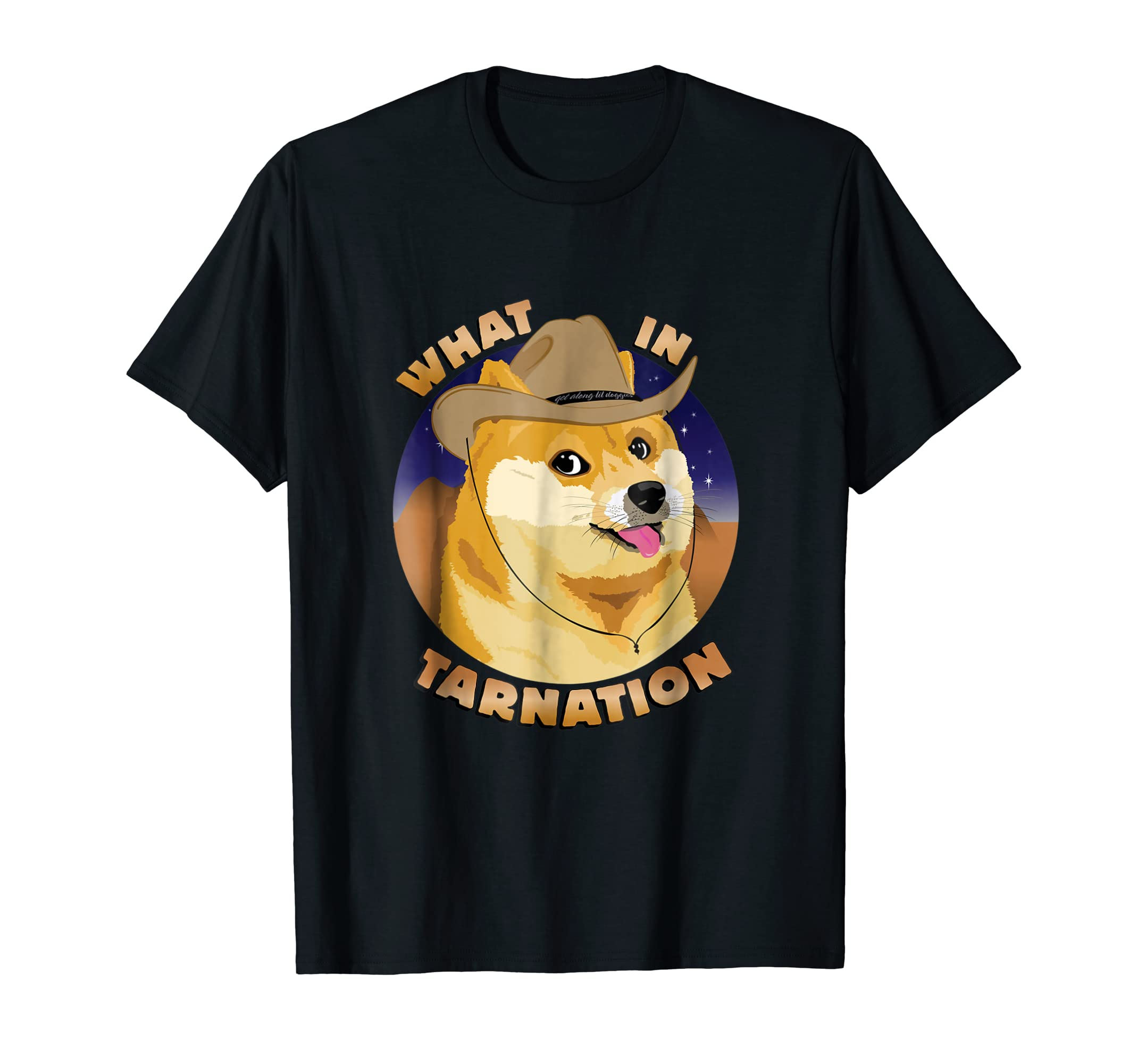 What In Tarnation Doge Cowboy Cowgirl Sheep Dog Herder Shirt-Men's T-Shirt-Black