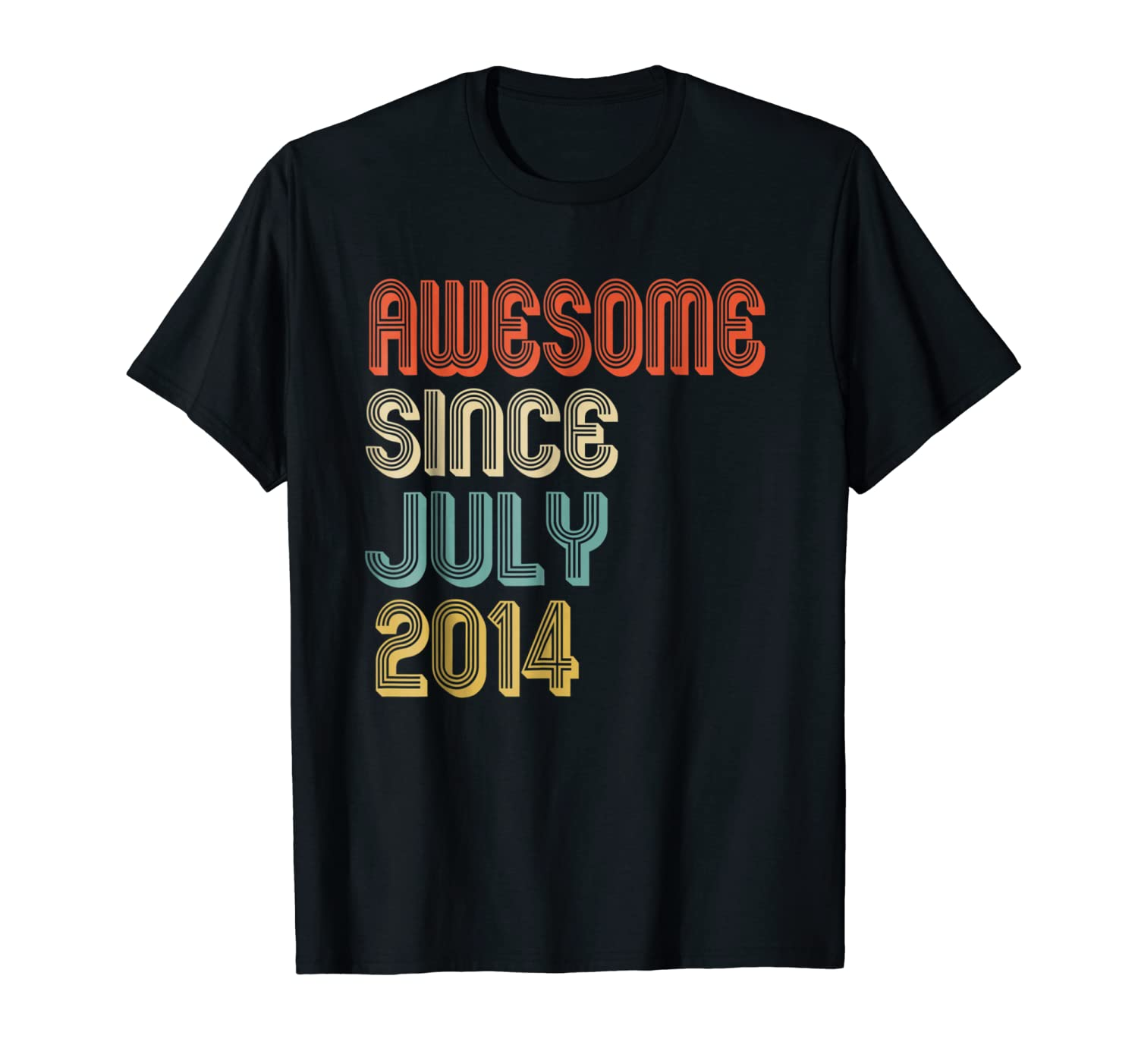 Awesome Since July 2014 Retro 4th Birthday Gift Shirts