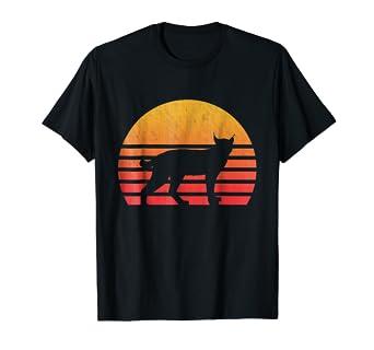 amazon com vintage retro lynx silhouette sun t shirt clothing
