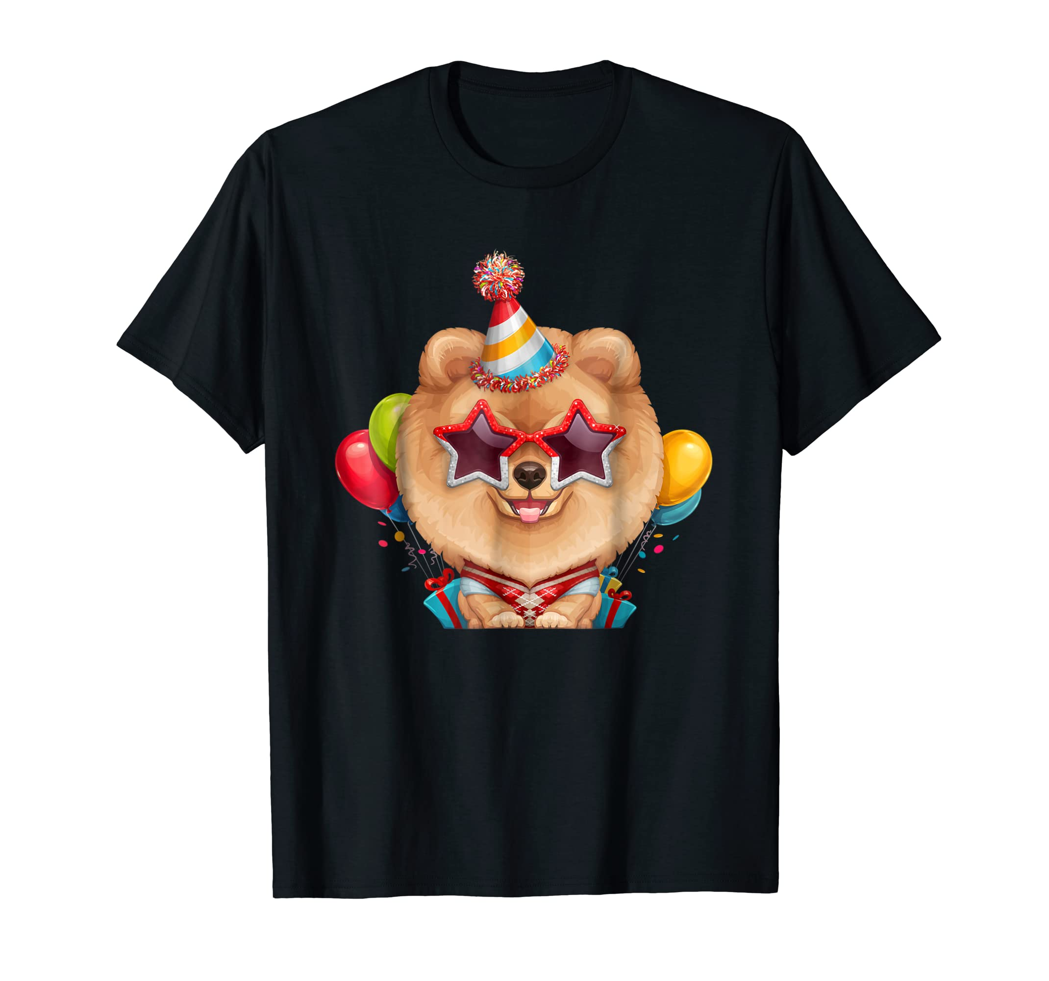Orange Pomeranian in Glasses Birthday T-Shirt-Men's T-Shirt-Black