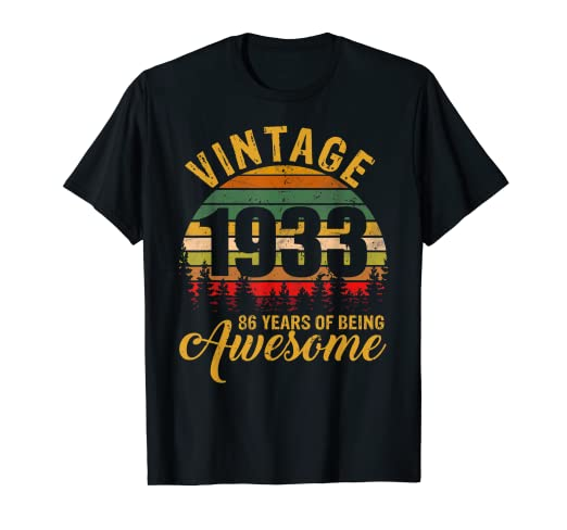 Amazon Retro Vintage 1933 86th Birthday Gift 86 Years Old