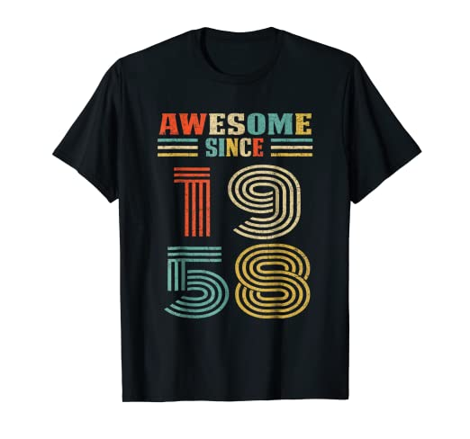 Amazon Vintage Awesome Since 1958 T Shirt 60th Birthday Gift