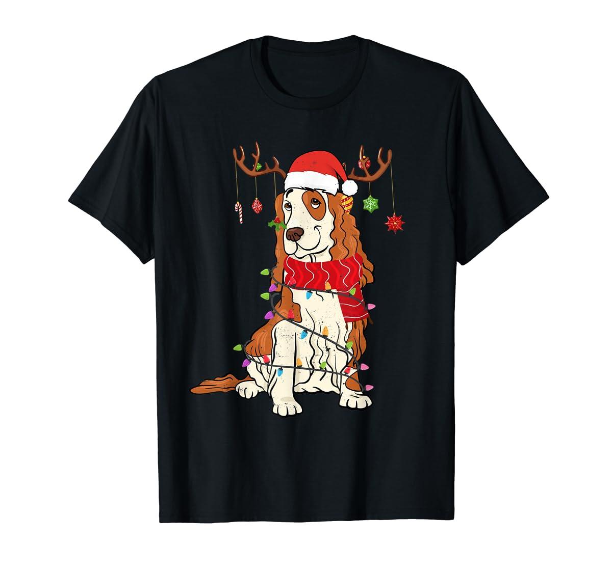 Funny Cocker Spaniel Christmas Reindeer Lights Xmas Dog T-Shirt-Men's T-Shirt-Black