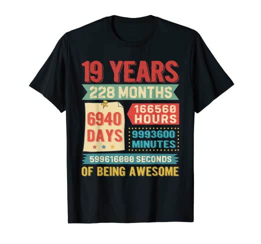 Amazoncom Funny 19 Years Old 228 Months Shirt 19th