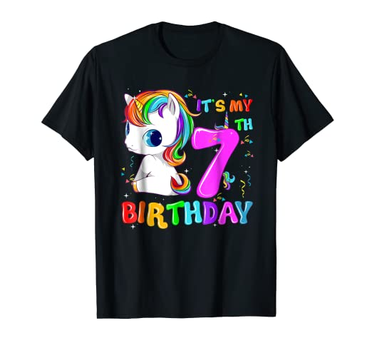 Image Unavailable Not Available For Color Kid 7 Yrs Old 7th Birthday Unicorn Shirt Girl Daughter Gift