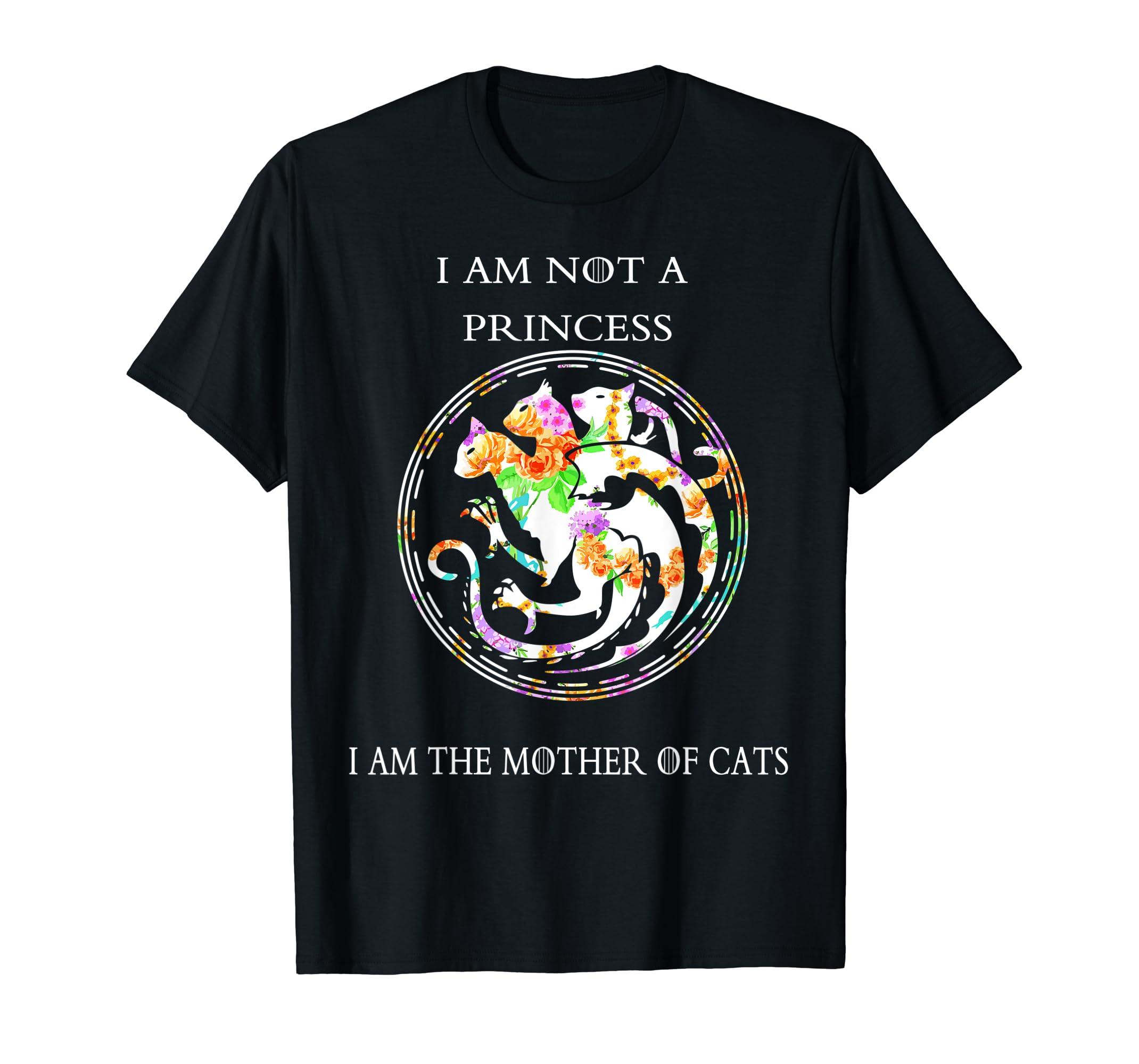 Funny T Shirt Floral Mother of Cats Tshirt for Women Men-Men's T-Shirt-Black