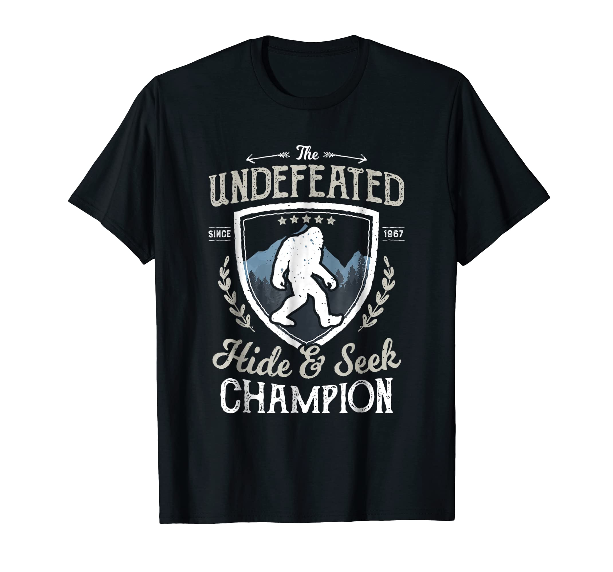 173d6cfb4 Amazon.com: Bigfoot Undefeated Hide and Seek Champion T Shirt Sasquatch:  Clothing