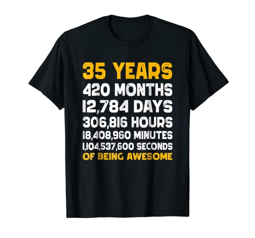 Amazon Vintage 35th Birthday Gift T Shirt 35 Years Of Being