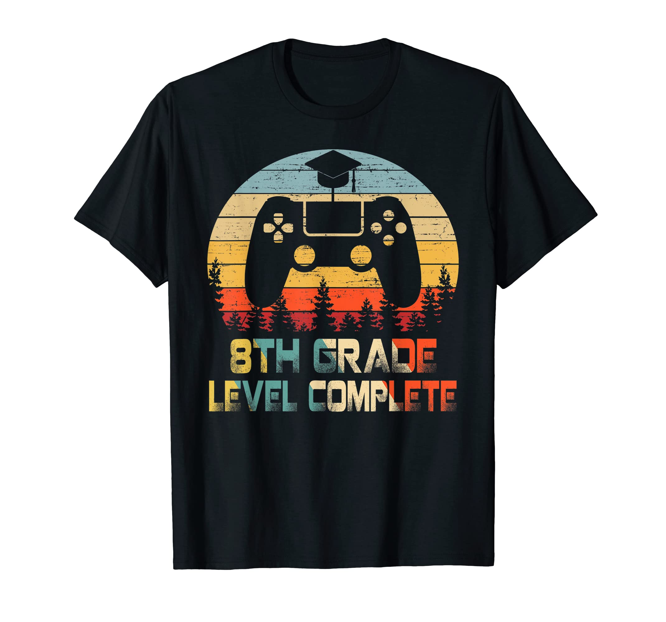 8th Grade Level Complete Video Gamer Graduation Shirt-Men's T-Shirt-Black