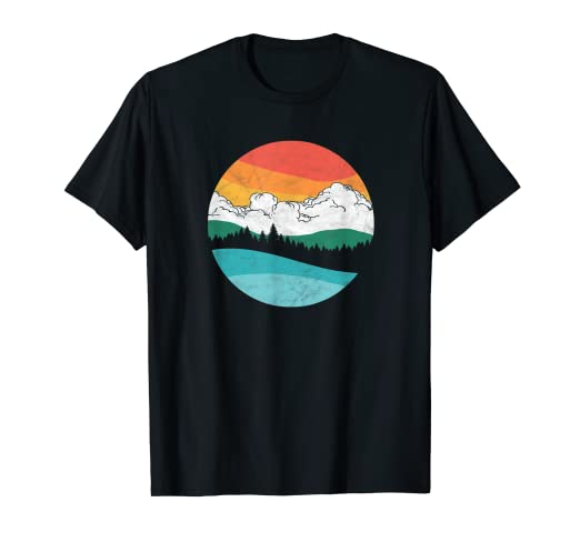 5bd12dd1 Image Unavailable. Image not available for. Color: Mountains Trees & Sky  Retro Nature Graphic T-Shirt