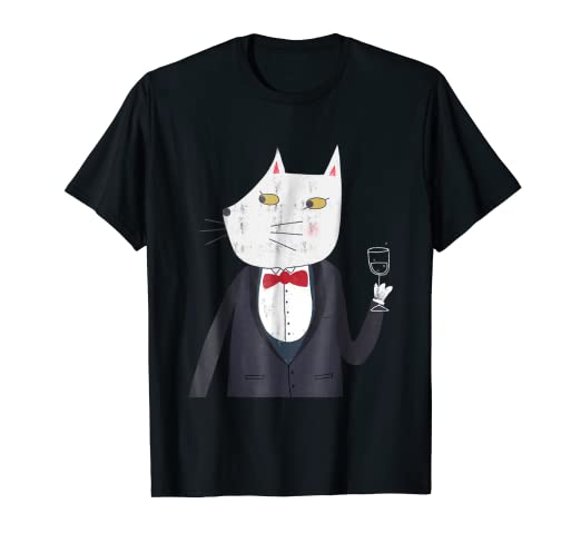 a3e1d3c9e Image Unavailable. Image not available for. Color: Cheers! Tuxedo Kitty Cat  with Champagne Funny Art T-shirt