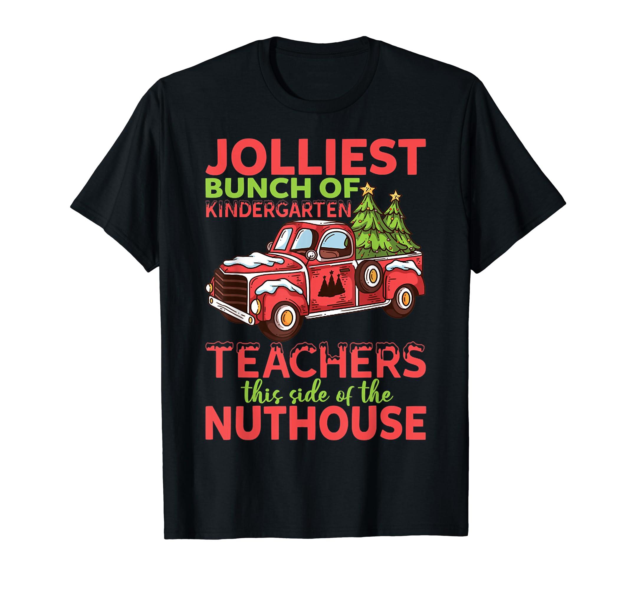 Jolliest Bunch Of Kindergarten Teachers Christmas T-Shirt-Men's T-Shirt-Black