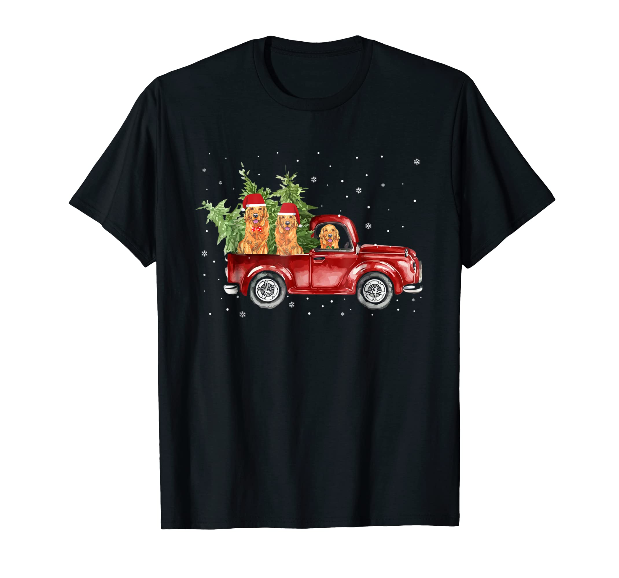 Golden Retriever Pickup Truck Christmas Tshirt-Men's T-Shirt-Black