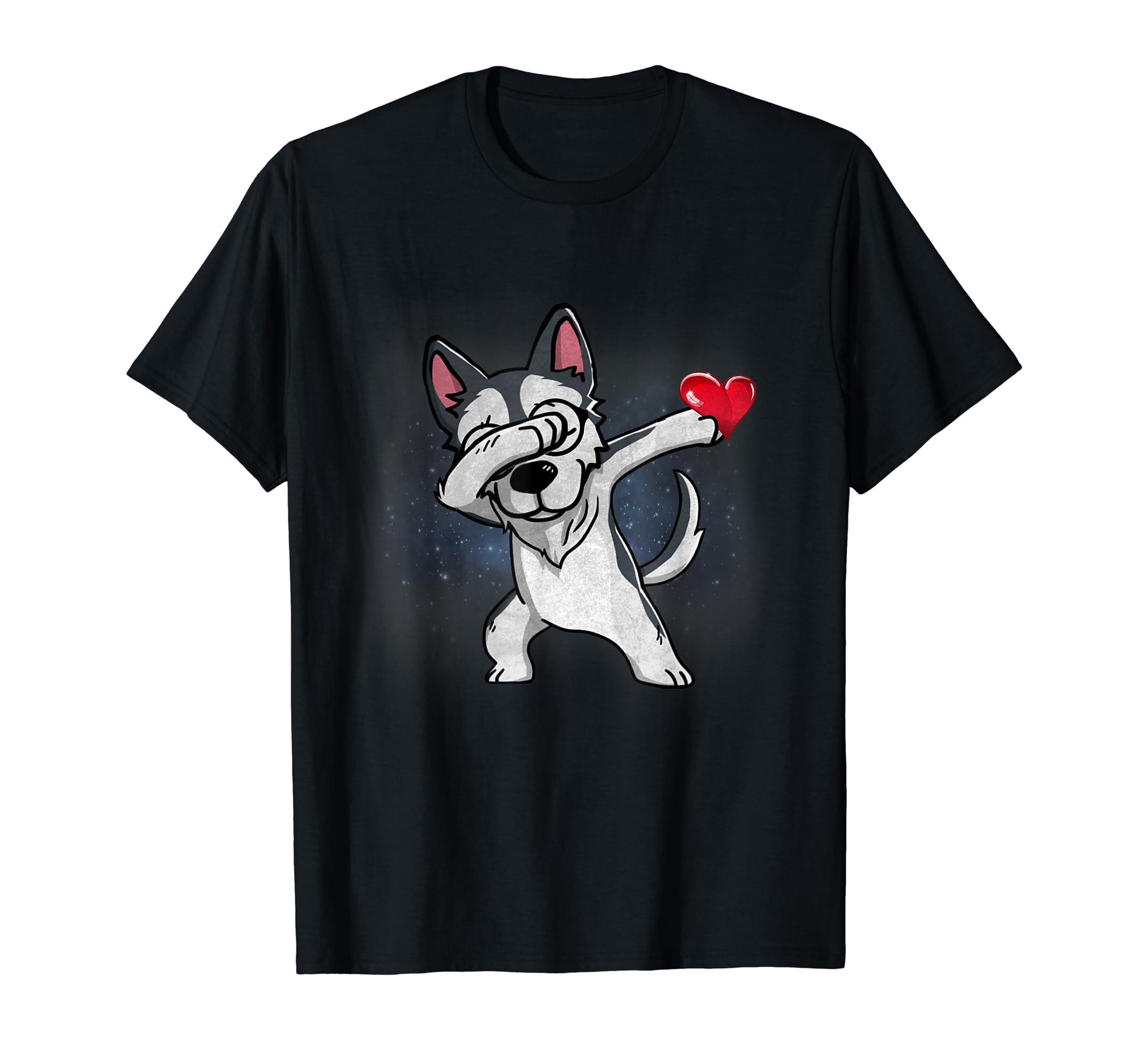 Cute Dancing Grunge Dabbing Dab Wolf Husky T-Shirt-Men's T-Shirt-Black