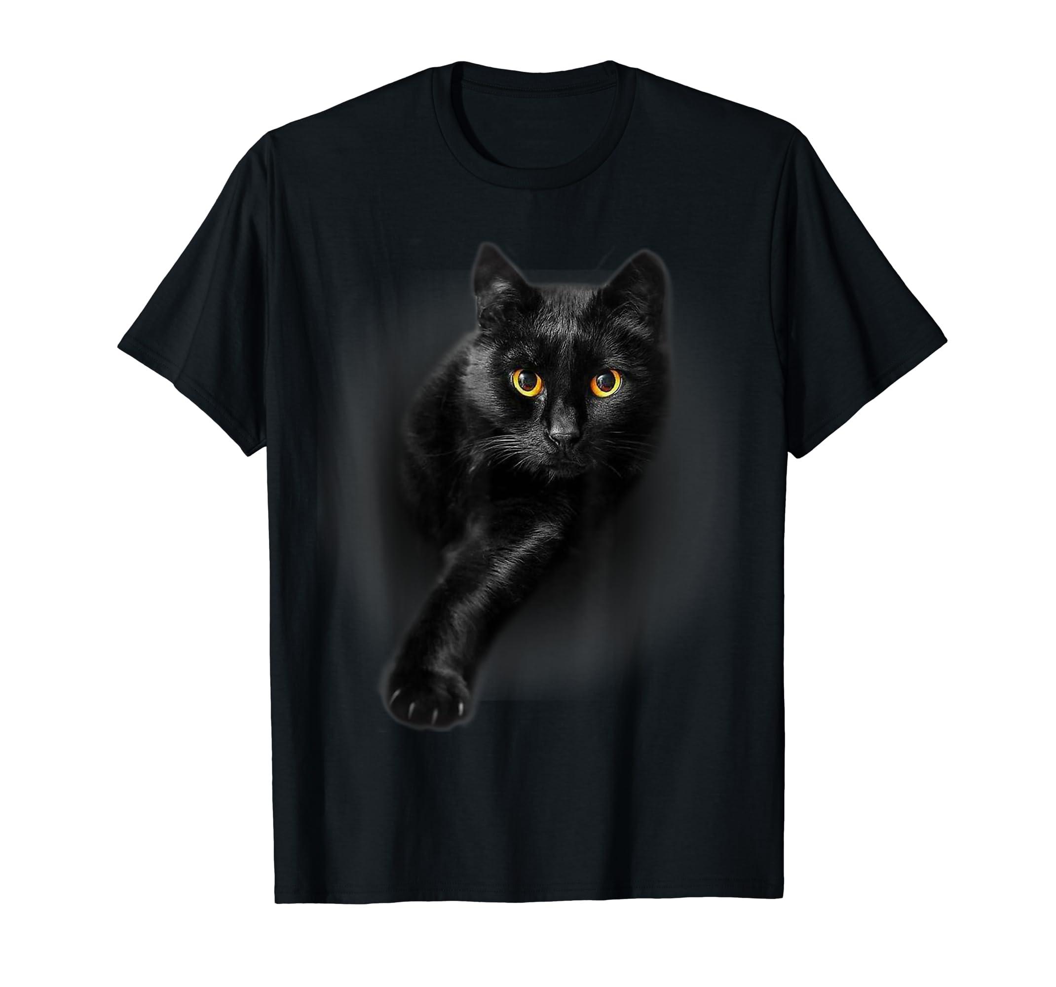 Black Cat Yellow Eyes T-Shirt Cats Tee Shirt Gifts-Men's T-Shirt-Black
