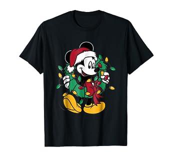 fee8b63c6 Amazon.com: Disney Mickey Mouse Christmas Lights T-Shirt: Clothing