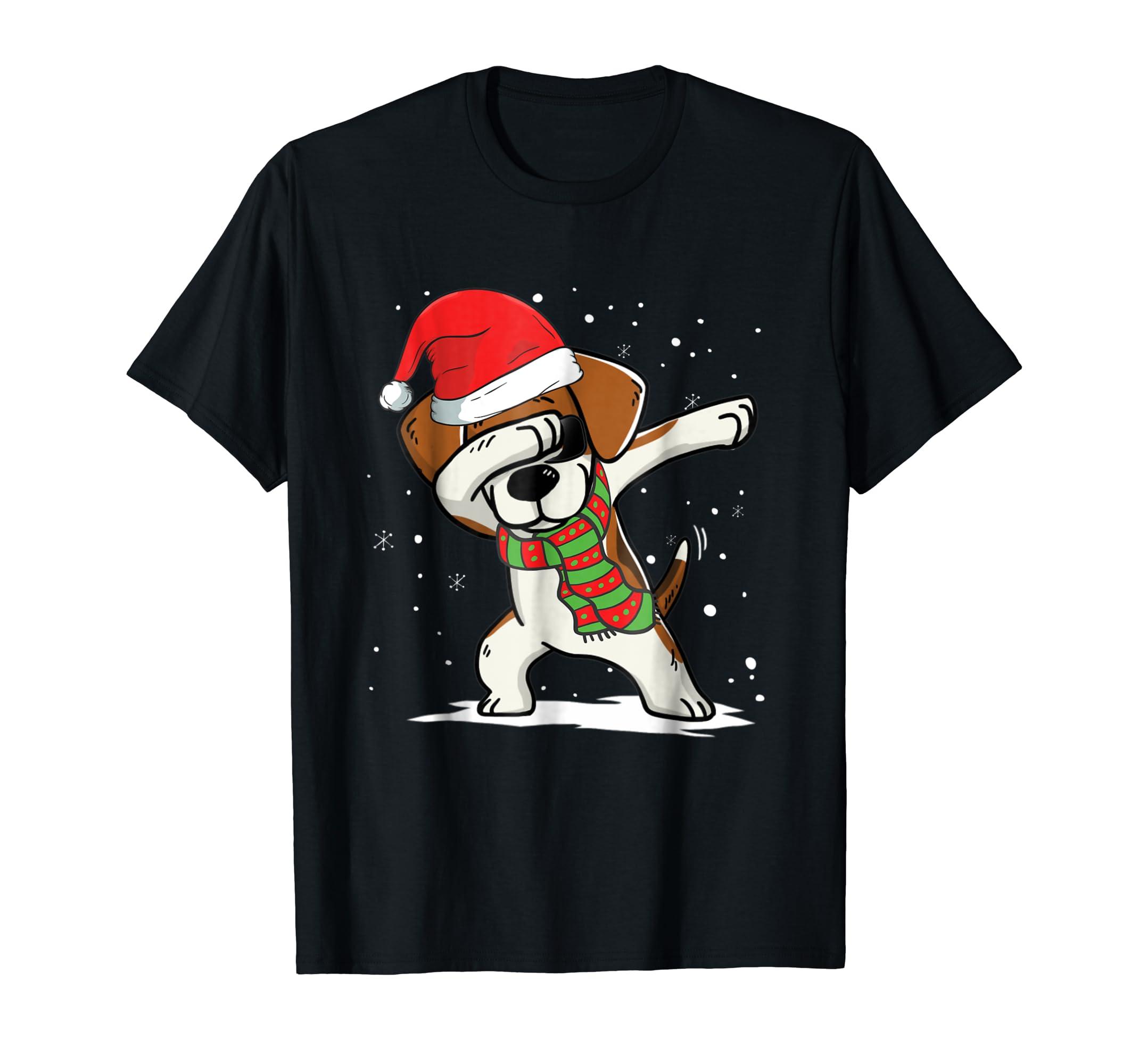 Dabbing Beagle Santa Christmas T-Shirt Dog Lovers-Men's T-Shirt-Black