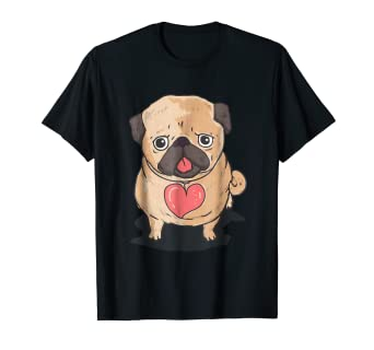 045698455 Image Unavailable. Image not available for. Color: Pug Dog Heart Shirt Cute  ...
