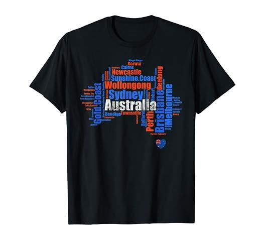 Tourist Map Of Australia With Cities.Amazon Com Vintage Australia Cities Love Map Heart Flag Tourist T
